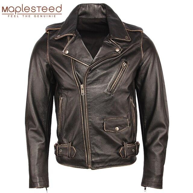 בציר אופנוע מעיל גברים מעילי עור עבה 100% עור פרה אמיתי עור מעיל חורף אופנוען Moto בגדי M456
