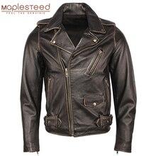 Vintage دراجة نارية سترة الرجال سترات من الجلد سميكة 100% جلد البقر معطف جلد طبيعي الشتاء السائق سترة موتو الملابس M456