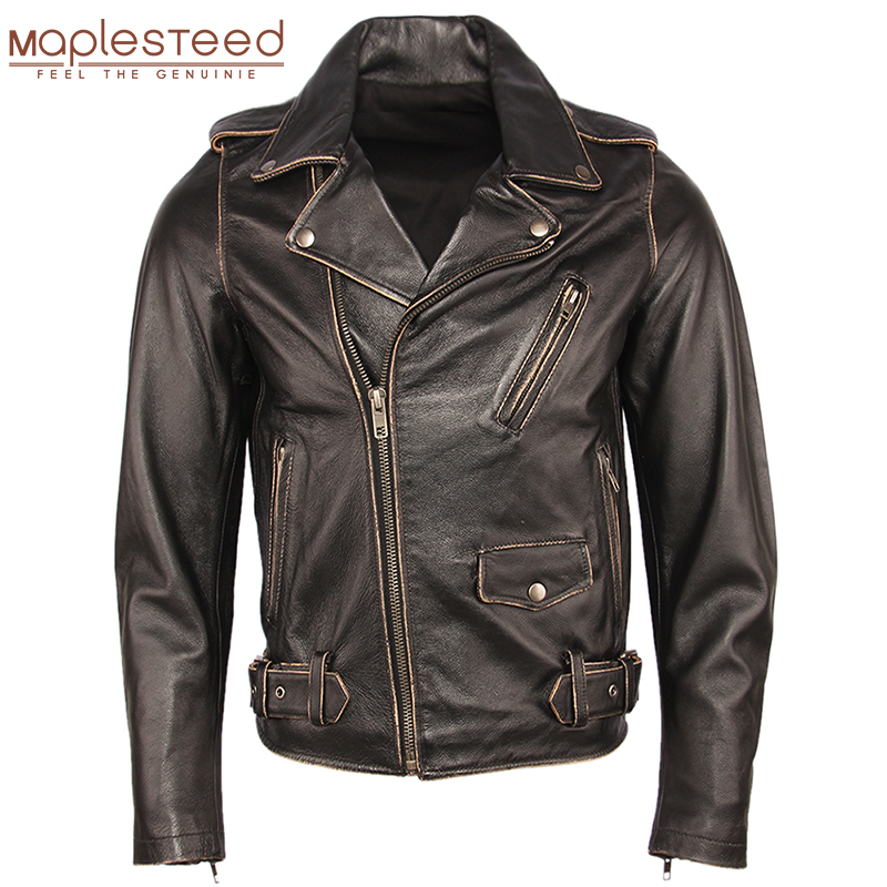 Vintage Motorcycle Jacket Men Leather Jackets Thick 100% Cowhide Genuine Leather Coat Winter Biker Jacket Moto Clothing  M456
