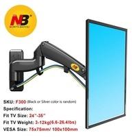 NB North Bayou F300 supporto per staffa TV per montaggio a parete per Monitor Full Motion con molla a Gas regolabile per Display da 24