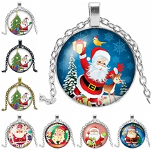 2019 New Year Merry Christmas Old Man Necklace Gift Glass Convex Round Silver Pendant for Childrens