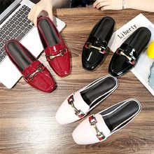 2019 Spring Patent Leather Closed Toe Square Toe flat slippers women summer shoes Red Balck Mules Slides Shoes Size 40(China)