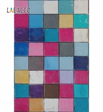 Laeacco Colorful Squares Photographic Backdrop Room Wall Decor Baby Birthday Vinyl Photography Background For Photo Studio colorful butterfly photography backdrops baby vinyl backdrop for photography camera fotografica background for photo studio