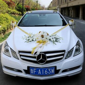Supply xi shi jiao tang sen xi Ceremony Wedding Wedding Car Decoration Set Fresh White Green Simulation Rose