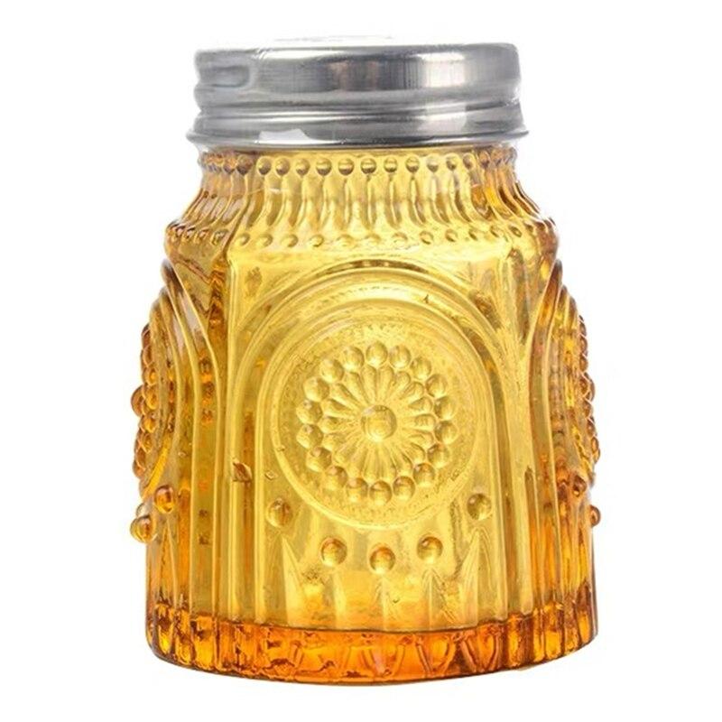 Glass Kitchen Pepper Spice Shaker Salt Seasoning Can Bottle Amber Relief Condiment Bottle Coffee Sugar Seal Jar Seasoning Shaker