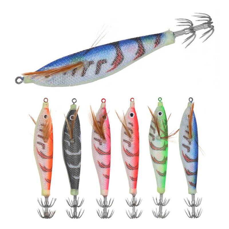6Pcs Squid Jig Artificial Hard Fishing Lures 9.5cm 10g Squid Jig Hooks Lifelike Fishing Lure Fishing Tackle Accessories