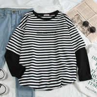 Koreanische Frauen shirts buchstaben streifen Kawaii tops Oansatz Allgleiches Studenten t-shirts herbst Harajuku Lose Kleidung Casual T shirt