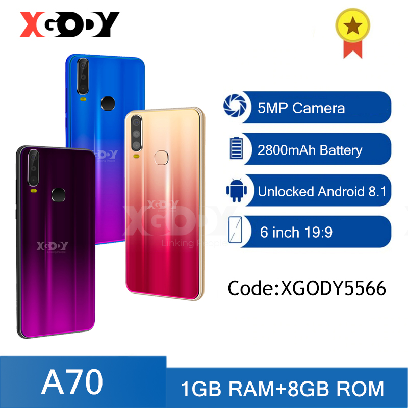 XGODY A70 3G Smartphone Android Celular Dual SIM 1GB 4GB Unlock Cellphone GPS WiFi 5MP 6