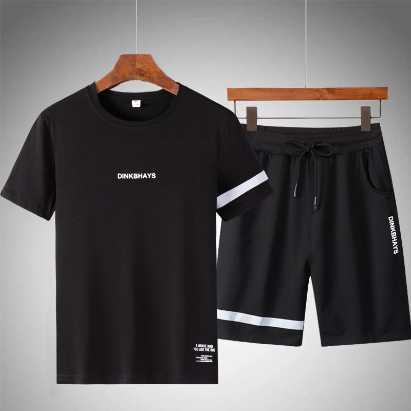 Men Casual Sets Summer Solid Slim Fit Jogging Tracksuits Quick Dry 2019 New Brand Mens Sportswear T Shirts+Shorts Suit Striped