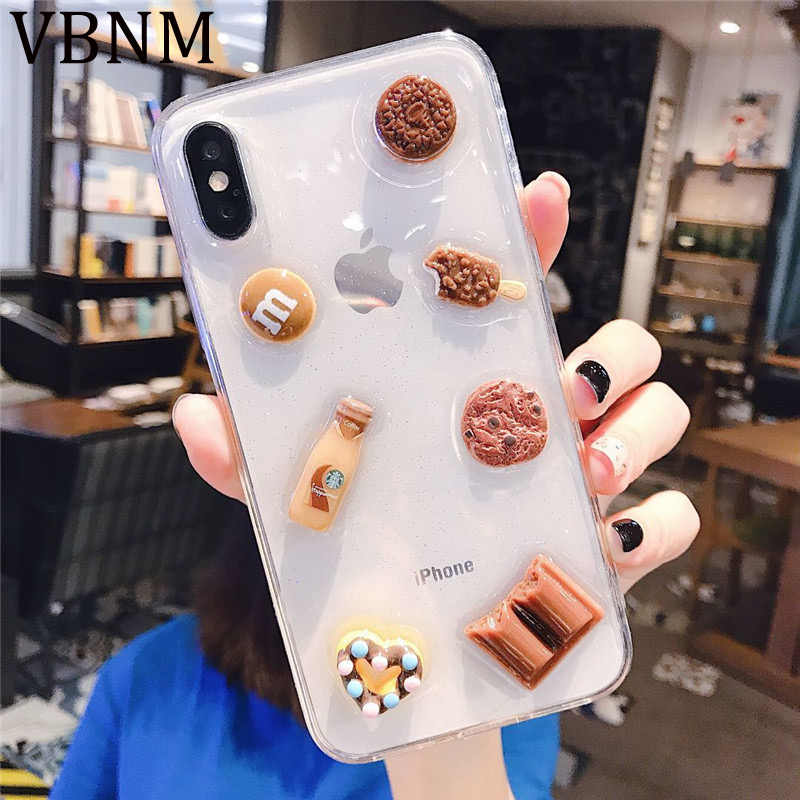 3D Vivid Chocolade Cookies Clear Telefoon Case voor iPhone 11 Pro Max XR XS Max X 6 6S 7 8 Plus Siliconen Luxe Soft Cover Capa