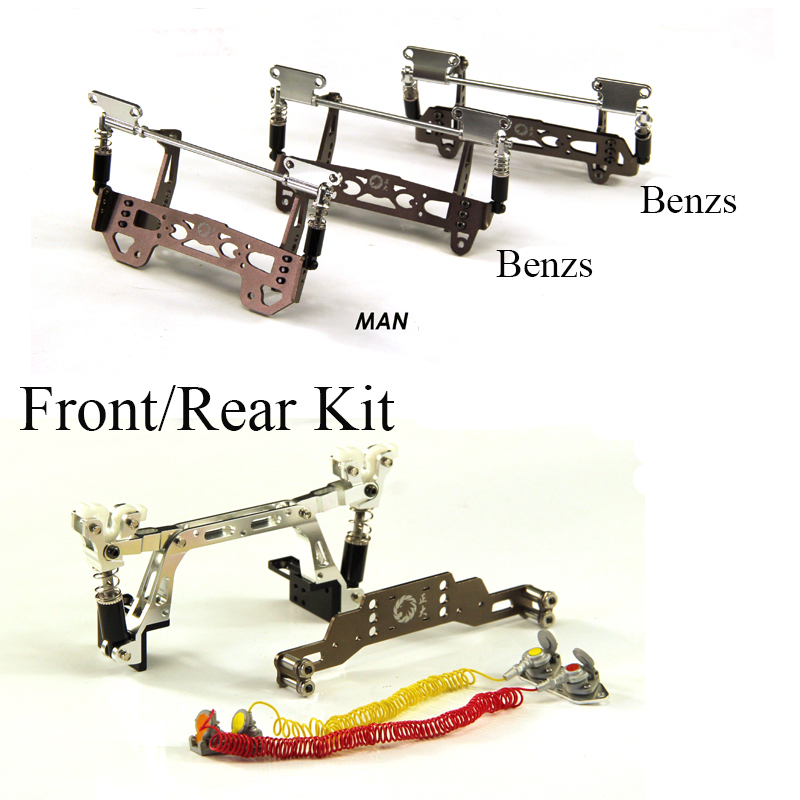 1Set 1/14 Tamiya Tractor Front/Rear Suspension Kit Car Shell Buckle Metal Shock Absorber Hinge for 1:14 SCANIA/MAN/ Benz RC Car(China)