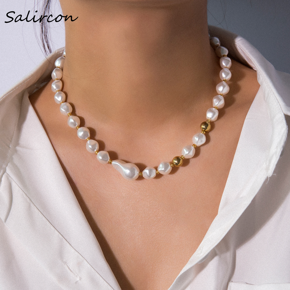 SalirCon Bohemian Elegant White Imitation Pearl Chain Necklace Clavicle Short Alloy Bead Women Party
