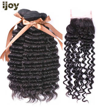 """Deep Wave Human Hair 3 Bundles With 4x4 Lace Closure Natural Color 8""""-26"""" M Brazilian Hair Weave Bundles Non-Remy IJOY - DISCOUNT ITEM  52% OFF All Category"""