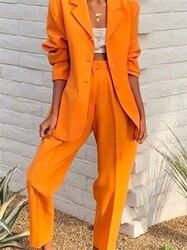 Оранжевые женские костюмы с отворотом, набор 2019, весна и осень, тонкий профессиональный комплект из 2 предметов, женский брючный костюм на за...