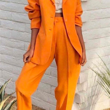 Orange Notch Lapel Lady Women Suits Set 2019 Spring and Autu