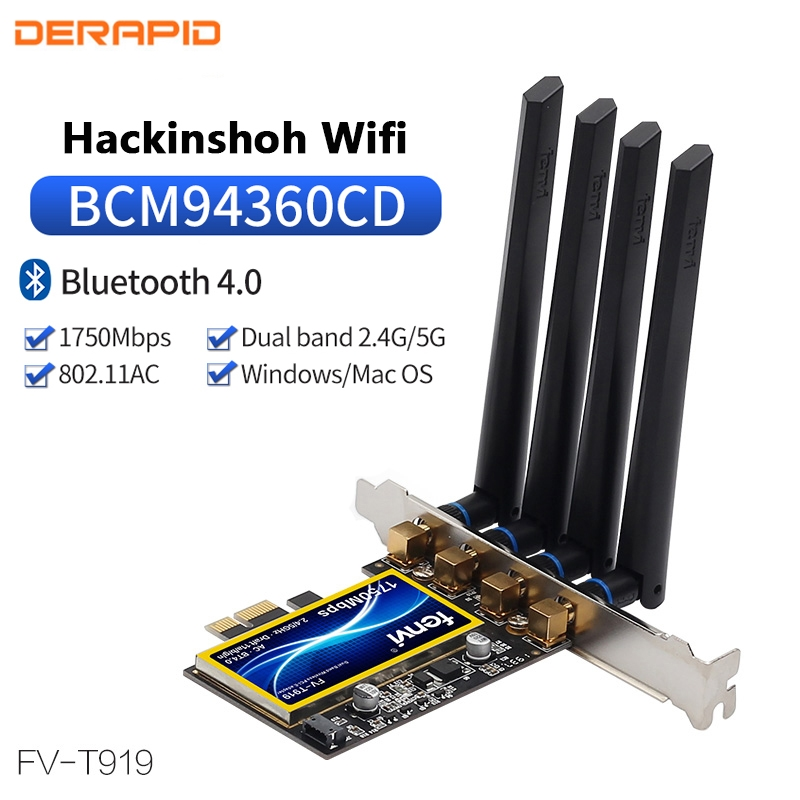T919 1750Mbps PCIe Wifi Card BCM94360CD For MacOS Hackintosh 802.11ac Bluetooth4.0 Dual Band 2.4G/5G Wireless Adapter 4 Antennas(China)