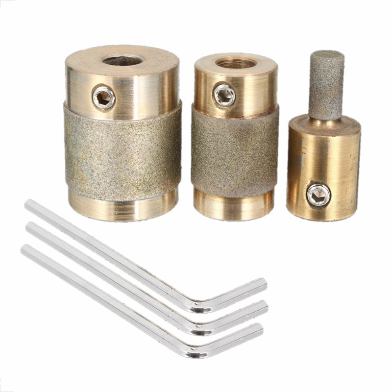 3Pcs Grinder Head 1 Inch 3/4 Inch 1/4 Inch Brass Core Standard Grit Stained Glass Grinder Bit Head For Glass Stone