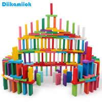 100 pcs/set Kinder Holz Spielzeug Bunte Domino Spiel Bausteine Baby Farbe/Form Learning Educational Holz Spielzeug für Kinder