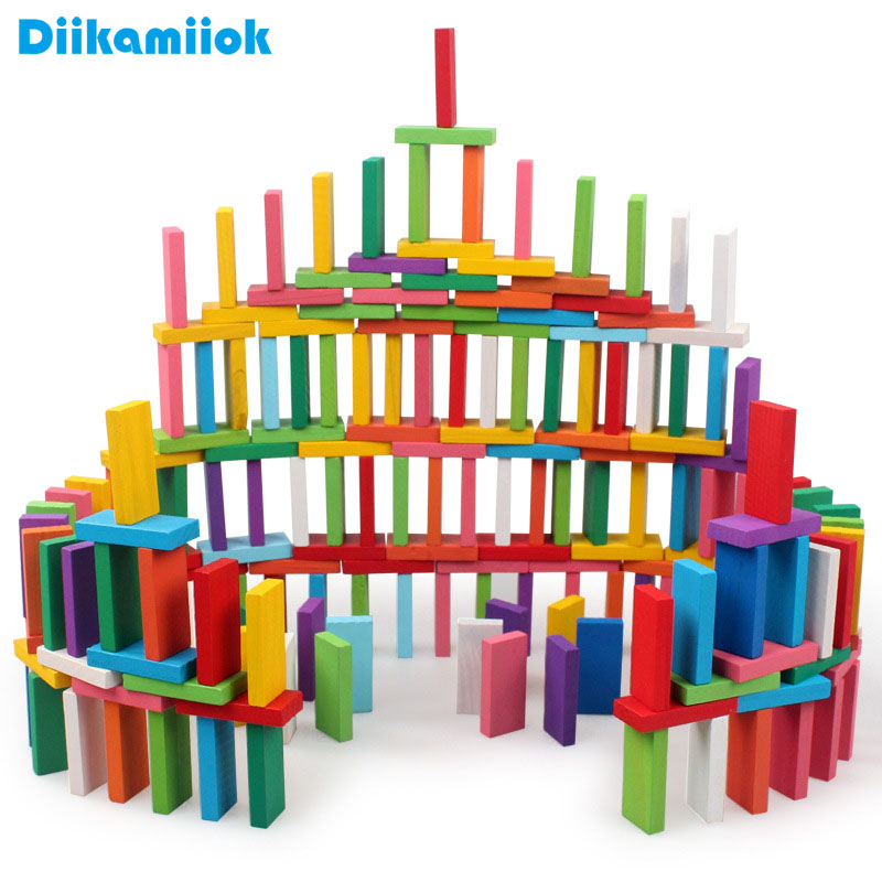 100pcs/set Kids Wood Toy Colorful Domino Game Building Blocks Baby Color/ Shape Learning Educational Wooden Toys For Children