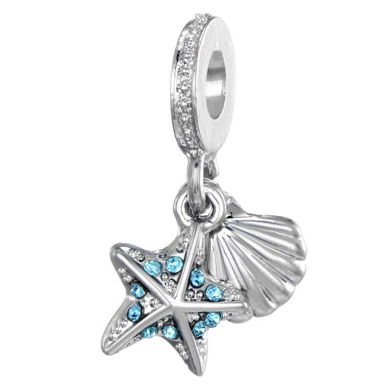 Trasporto Libero Blu Starfish & Sea Borsette Pendenti e Ciondoli Borda il Pendente Fit Pandora Bracciali e Collane FAI DA TE Fabbricazione Dei Monili Accessori