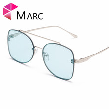 MARC 2019 New Metal Square Flat Ocean Sunglasses Women Brand Face Lady Sun Glasses Vintage Big Frame Female