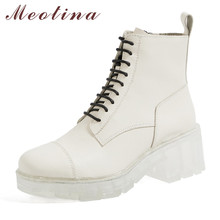 Meotina Short Boots Women Shoes Real Leather Platform Zip Ankle Boots Crystal Thick Heels Lace Up High Heel Boots Winter White