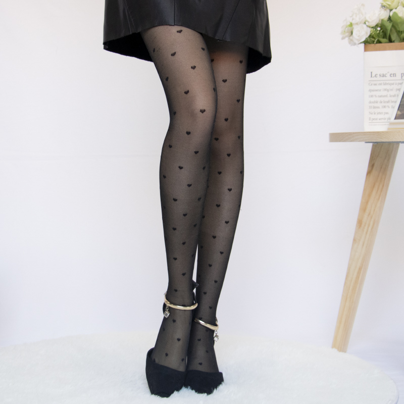 1PC Sexy Women Pantyhose Tights Summer Nylon Polka Dot Print Stockings Seamless Fishnet Mesh Female Hosiery Vintage Faux Tattoo 7