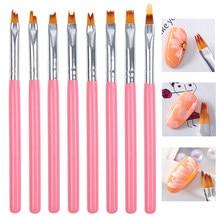 French Nail Design Painting Pen Brush Gradient Gel Nail Polish Builder Drawing Carving Brushes Nail Art Brush Set Manicure Tools
