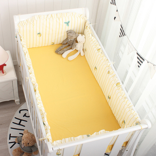 4pcs Crib Bumpers +Flat Bed Sheet Cotton Cartoon Print Children's Cot Protector Infant Baby Bedding Kids Bedding Set Room Decor | Happy Baby Mama