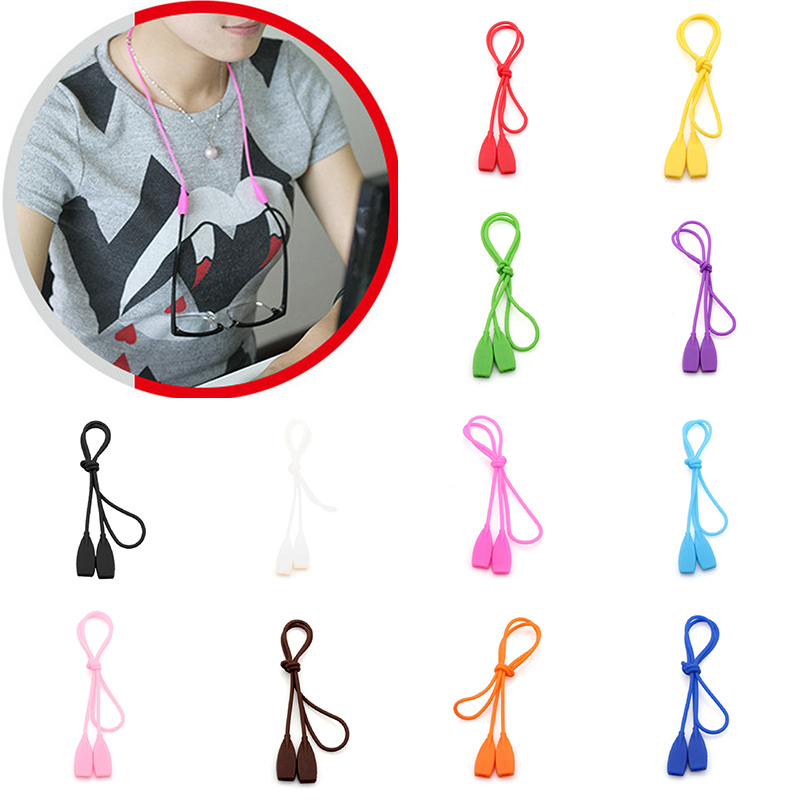 25cm Candy Color Elastic Silicone Eyeglasses Straps Sunglasses Chain Sports Anti-Slip String Glasses Ropes Band Cord Holder