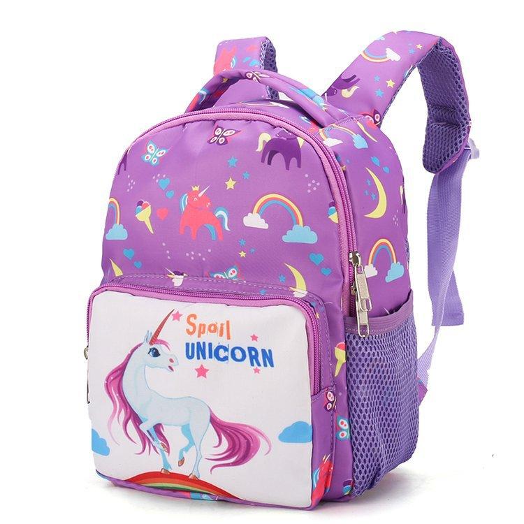 Purple Diamond Horse Unicorn Shoulder Backpack Messenger Crossbody Laptop Bag Student Bookbags for Kid Girls Boys