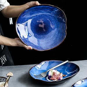 KINGLANG Dish-Plate Dish-Dinnerware Ceramic Irregular Household-Pottery Food