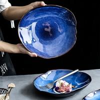 Kinglang nordic cerâmica prato prato de comida casa cerâmica irregular prato salada prato louça|Pratos| |  -