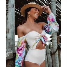 Bañador Vintage de una pieza para mujer, traje de baño de manga larga, Monokini de talla grande con estampado de vendaje para verano, 2021