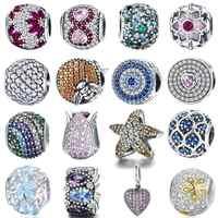 925 Sterling Silber Charme Perles Schneeflocke Blume Charms herz bee augen zirkon Perlen fit Charme Armband silber 925 Schmuck
