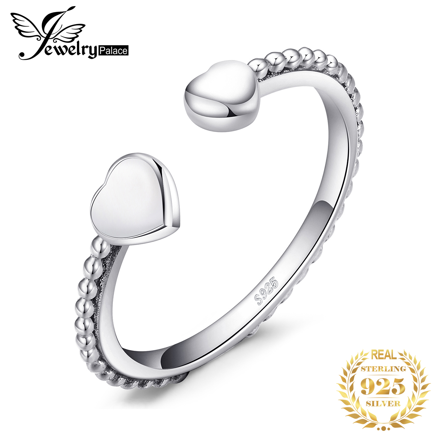 JewelryPalace 925 Sterling Silver Two Heart Open Ring 925 SterLing SiLver Gifts For Her Anniversary Fashion Jewelry New Arrival