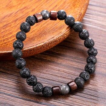 Fashion Women Men Lava Rock Stone Elasticity Yoga Beads Bracelet Lovers Party Bracelet Jewelry Gift