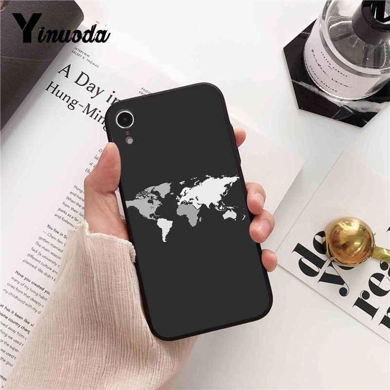 Yinuoda mapa świata samolot podróży TPU czarny telefon skrzynki pokrywa Shell dla iPhone X XS MAX 6 6S 7 7plus 8 8Plus 5 5S XR
