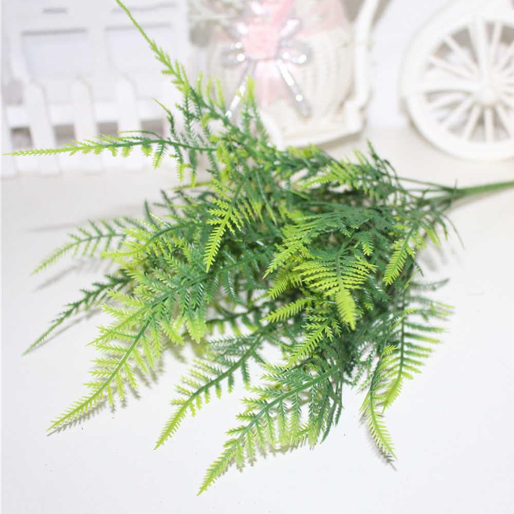 1/2/3 Pcs Plastik Tanaman Hijau 7 Batang Buatan Asparagus Fern Rumput Semak Bunga Rumah Kantor Deor tanaman Hias F