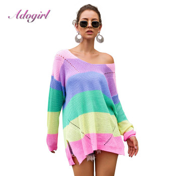 Casual Rainbow Striped Sweater Women 2019 Long Sleeve Loose Jumpers Knitted Autumn Winter Outwear Tops Sweaters Pullover Femme 2019 new women sweaters and pullovers autumn winter long sleeve pull femme striped pullover female casual knitted sweater