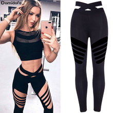 Sexy Midriff Motion Yoga Pants Thigh Hollow Out Bodybuilding Trousers Woman Run Tight Polyester Trousers sport leggings sexy midriff baring tops