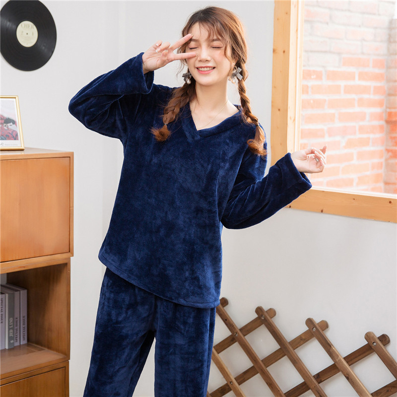 Pajama Lady Autumn And Winter Flannel Long-sleeve Thickening Warm Suit Lovely Sweet Coral Velvet Home Wear Two Pieces