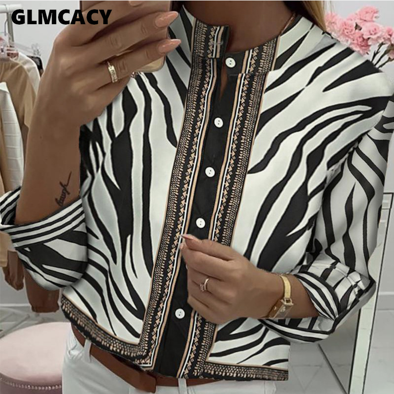 Women Button Down Zebra Printed Long Sleeve Top Blouse Loose Style Chic Casual Spring Fall Retro Street Wear Fashion Shirt