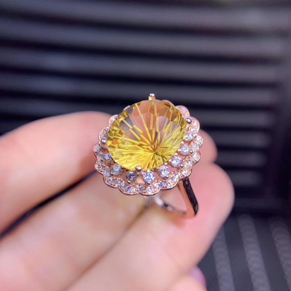 Fille naturel jaune citrine anneau fête anniversaire 925 en argent Sterling, grande taille certifié ovale gemme bague de fiançailles cadeau d'anniversaire