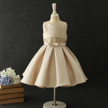 19016 Sequins Bow A-line Costume Princess Baby Girl Dress New Summer Party Wedding Kid Dress For Girl Wholesale Children Clothes