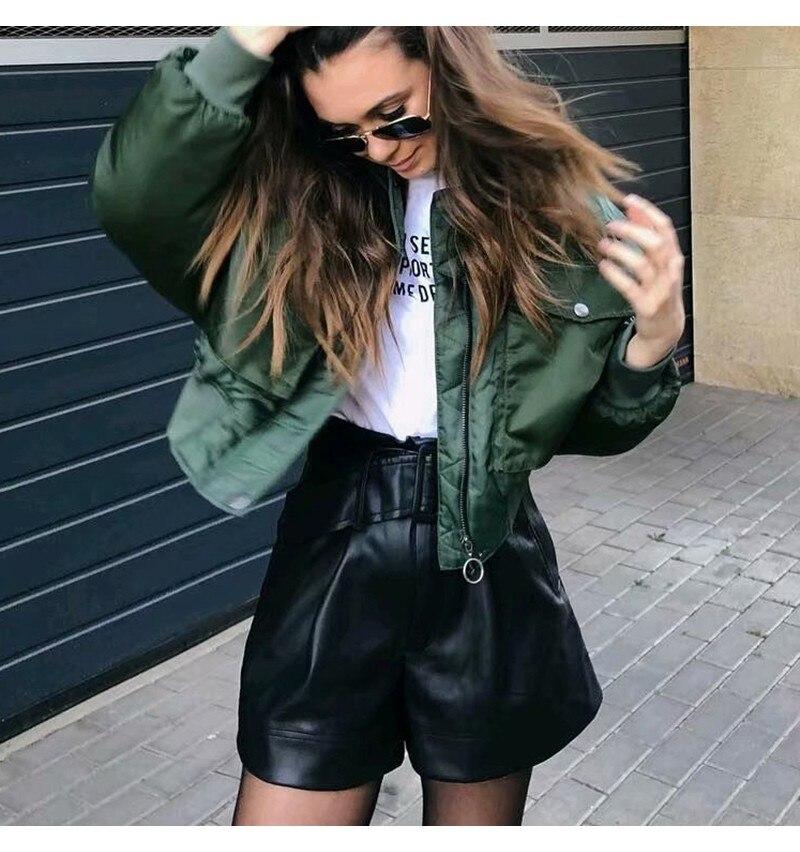 H299c909a3f4149eba7aef00721bde469J Artsnie Autumn 2020 Bomber Jacket Women Army Green Warm Zipper Pockets Winter Coat Female Jacket Parkas Femme Chaqueta Mujer