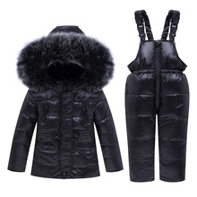 Winter Warm 90% White Duck Down Baby Girls Boys Clothing Sets Fur Child Coat+Pant Children Outerwear Kids For 75-115cm