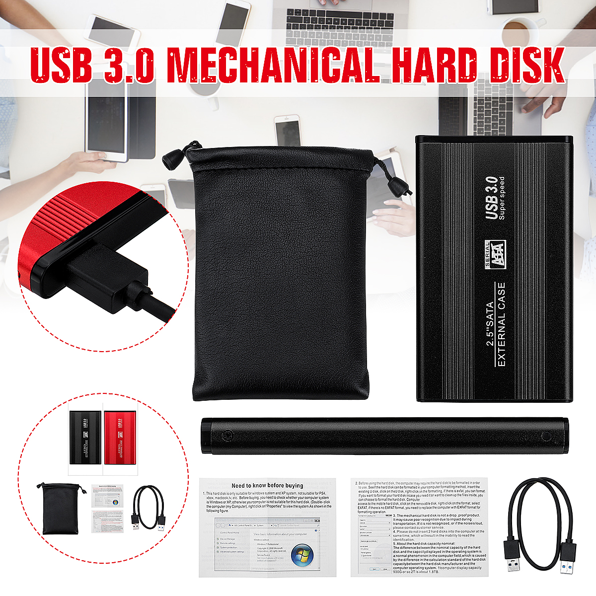 Computer Neutral Hard Disk Black Upgrade 1T USB 3.0 Interface Efficient Support HDD/SSD Portable Hard Disk With USB Cable