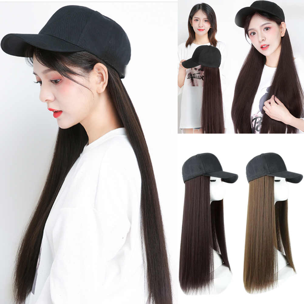 New Hot Sale Women girl applies Baseball Cap with Synthetic Hair Extension Long Hair Wig Hat Natural Fashion Portable V9-Drop