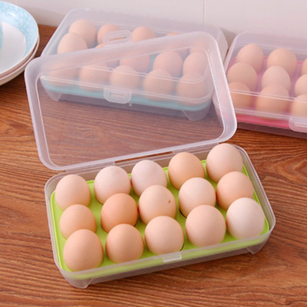 15 Grids Eggs Storage Box Portable Egg Container Fresh Egg Carrier Case 0U